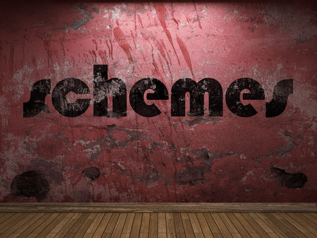 schemes: schemes word on red wall