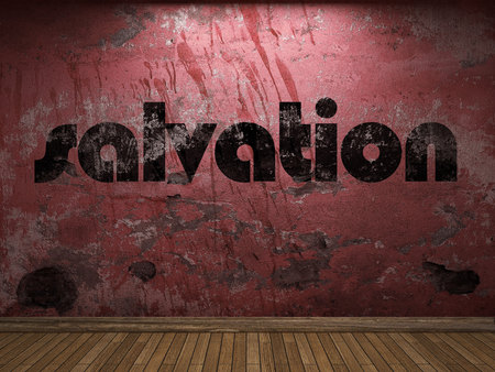 the salvation: salvation word on red wall