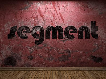 segmento: palabra segmento en la pared roja