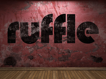 ruffle: ruffle word on red wall