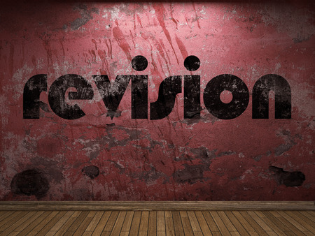 revision: revision word on red wall