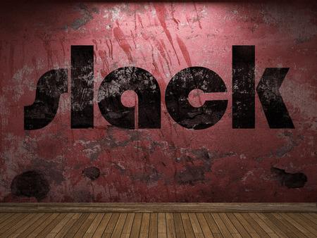 slack: slack word on red wall Stock Photo