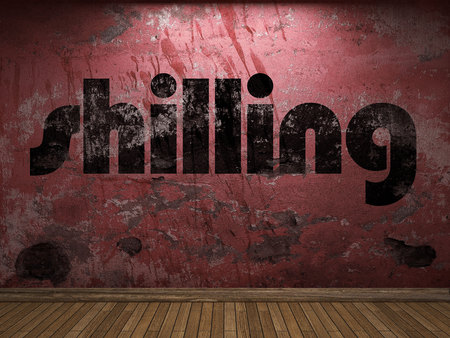 shilling: shilling word on red wall Stock Photo