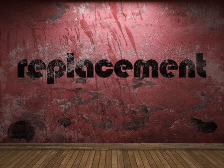 replacement: replacement word on red wall