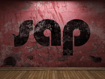 sap: sap word on red wall