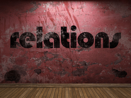 relations: relations word on red wall
