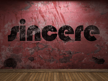 sincere: sincere word on red wall Stock Photo