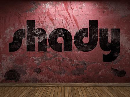 shady: shady word on red wall