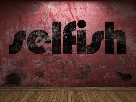 ego�sta: palabra ego�sta en la pared roja Foto de archivo