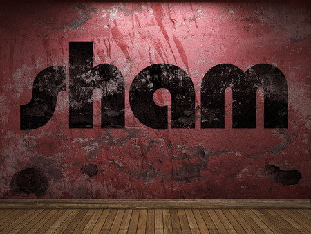 sham: sham word on red wall