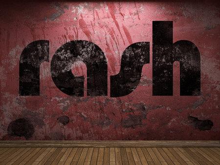 sarpullido: palabra erupción en la pared roja