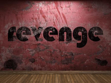 venganza: palabra venganza en la pared roja Foto de archivo
