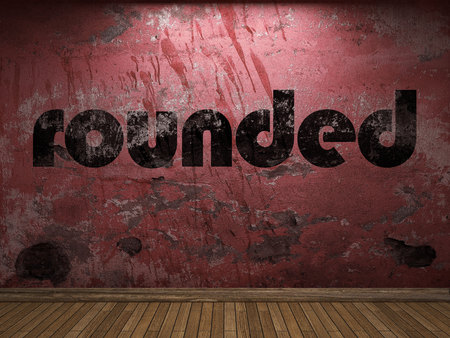 rounded: rounded word on red wall