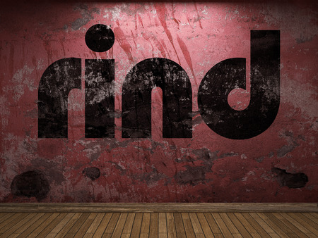 rind: rind word on red wall Stock Photo
