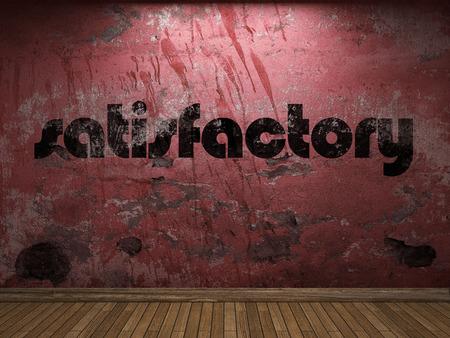 satisfactory: satisfactory word on red wall Stock Photo