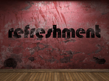 refreshment: refreshment word on red wall Stock Photo