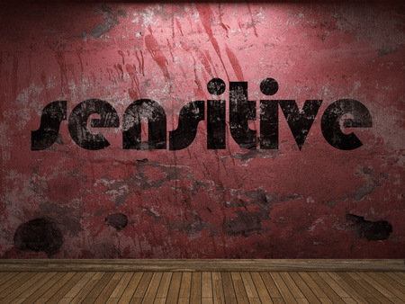 sensitive: sensitive word on red wall