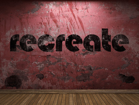 recreate: recreate word on red wall Stock Photo