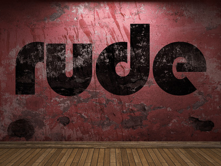 rude word on red wall