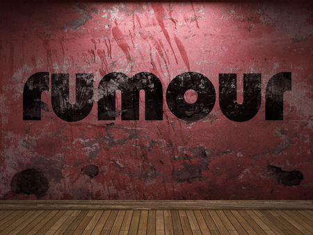 rumour: rumour word on red wall