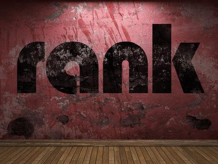 rank: rank word on red wall