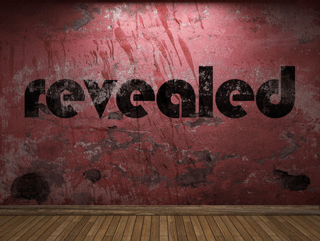 revealed: revealed word on red wall Stock Photo