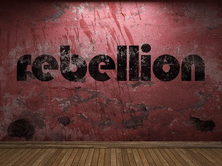 rebellion: rebellion word on red wall Stock Photo