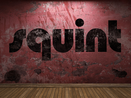 squint: squint word on red wall Stock Photo