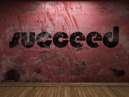 succeed: succeed word on red wall Stock Photo