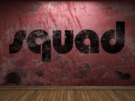 squad: squad word on red wall