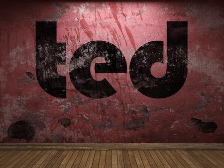 ted: ted word on red wall