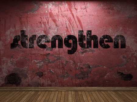 strengthen word on red wall