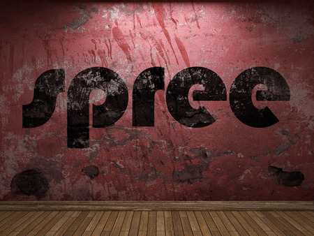 or spree: spree word on red wall Stock Photo