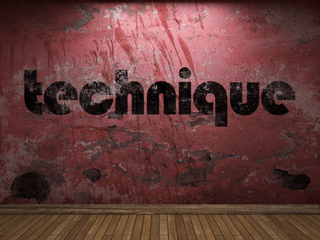 technique: technique word on red wall
