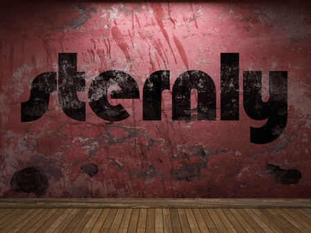 sternly: sternly word on red wall