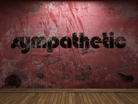 sympathetic: sympathetic word on red wall