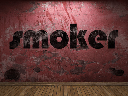 smoker: smoker word on red wall Stock Photo