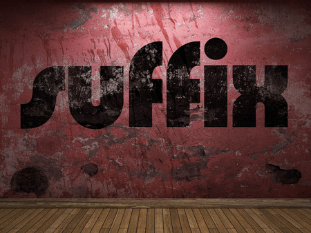 suffix: suffix word on red wall