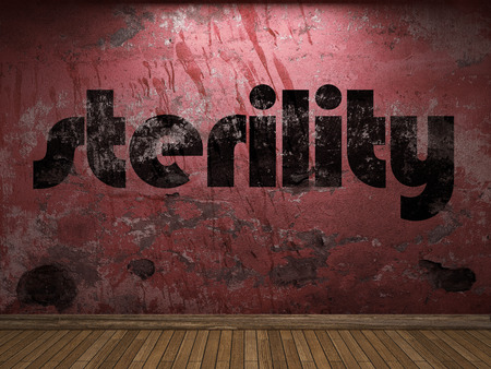 sterility: sterility word on red wall