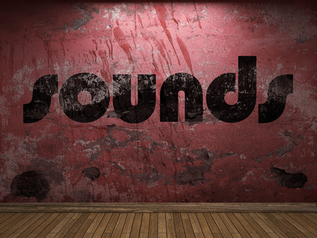 sounds: sounds word on red wall