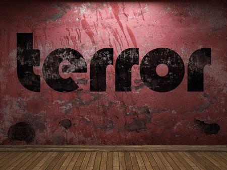 terror: terror word on red wall