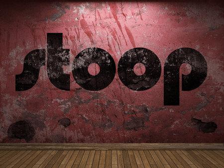 stoop: stoop word on red wall