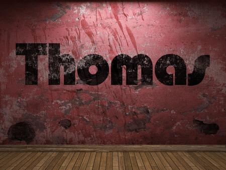 thomas: Thomas word on red wall