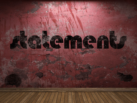 statements: statements word on red wall Stock Photo