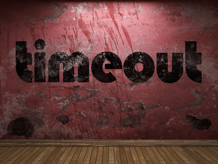 timeout: timeout word on red wall