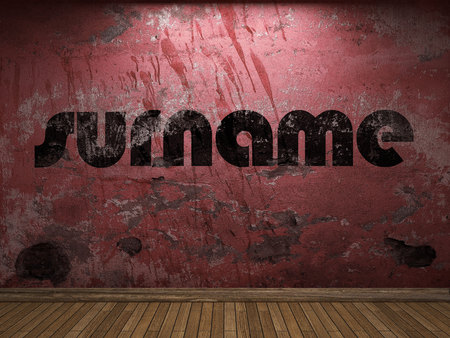 surname: surname word on red wall