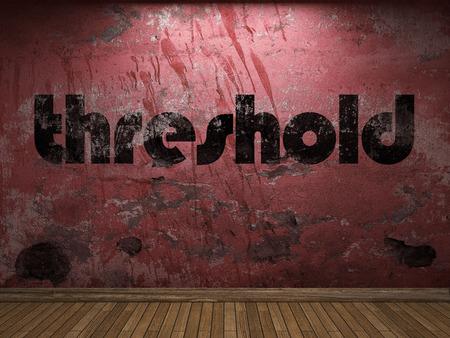 threshold: threshold word on red wall Stock Photo