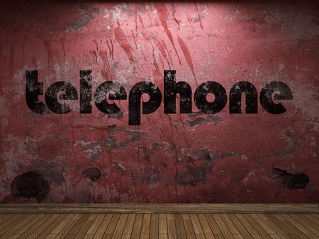 plaster board: telephone word on red wall