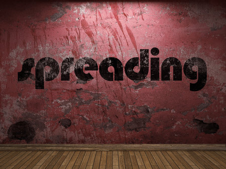 spreading: spreading word on red wall