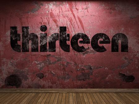 thirteen: thirteen word on red wall Stock Photo
